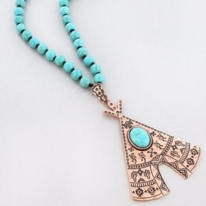 Coppertone Southwestern Teepee Necklace